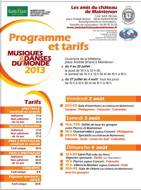 Programme et tarifs festival 2013